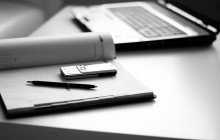 Tools businessman: a laptop, diaries, phone